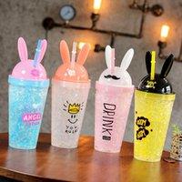 Creative Dibujos animados de plástico botella de agua moda linda conejito orejas pajas hielo botella de hielo bebida fría café café regalo thrakware dwd5094