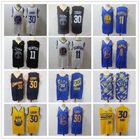 "Hombre Golden ""State"" Warriors ""Jersey de retroceso Klay 11 Thompson Stephen 30 Curry"" Pantalones cortos de baloncesto Camiseta de baloncesto Black Black"