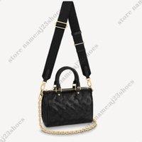 Speedy Bandouliere 22 дизайнерская сумка черные сумки Бостон с тиснением кожаных дизайнеров кожи M58631