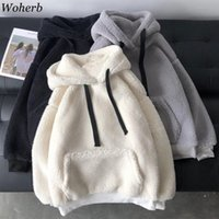 Women's Hoodies & Sweatshirts Woherb Lambswool Solid Sweatshirt Autumn Winter Clothes Women Sweet Warm Soft Hooded Long Sleeve Casual Top Su