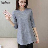 2021 Autumn Winter Sweater Women O-Neck Pullover Women's Knitted Sweater Loose Long Sleeves Women Tops Bottom Shirt Sweater G1008