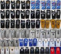 Hombres Baloncesto 7 Kevin Durant Jersey 13 James Harden 11 Kyrie Irving Azul Blanco Negro Negro Gris Rojo Amarillo Todo Pedido Puro Cotton Hombre
