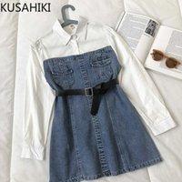 الربيع ديمين المرقعة النساء اللباس الكورية حزام ضئيلة الخصر أنيقة الجينز فساتين طويلة الأكمام vestidos فام 6F262 210603