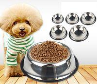 Paslanmaz Çelik Köpek Kedi Kase Kaymaz Dayanıklı Açık Gıda Besleyici Su Kaseleri Küçük Orta Büyük Köpekler Için Pet Besleme İçme Malzemeleri WLL8