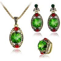 Earrings & Necklace Vintage Crystal Rhinestone Jewelry Sets Pendant Antique Ring Metal Hollow Leaf Stud Fashion Accessory