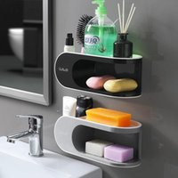 Soap Dishes Double Layer Bathroom Shelf Liquid Holder Dish Box Wall Mount Toilet Shampoo Storage Rack For Robe Hook Kitchen Accessories