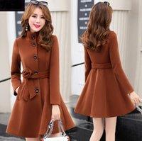 여성용 겉옷 가을 겨울 새로운 의류 한국 패션 벨트 따뜻한 모직 드레스 블랜드 슬림 여성 우아한 모직 코트 899i 210218