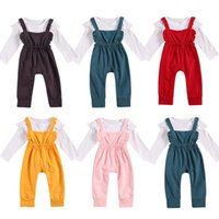 Clothing Sets 0-24 Months Autumn Infant Baby Girls Boys Clothes Solid Ruffles Long Sleeve Romper Tops+bib Overalls Pants