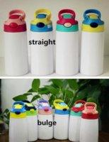 DIY Sublimation 12oz Gewirr Flasche Gerade Tumbler Edelstahl Sippy Cup 350ml Strohbecher Gute Qualität für Kinder GYQ