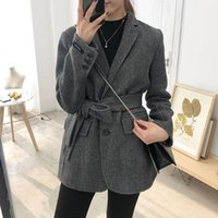 Casual Women Cashmere Loose Autumn Coat Ladies Turn Down Col...