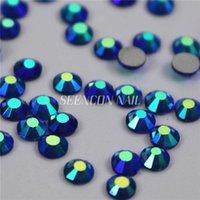 Nail Art Decorations 1440pcs/lot Light Sapphire AB Non Fix Flatback Rhinestones For Nails 3D Decoration Glitter Gems Jewelry Beads