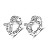 Hoop & Huggie KOFSAC Fashion Exquisite Zircon Bow-Knot Earring Jewelry 925 Sterling Silver Earrings For Women Valentine's Day Gifts