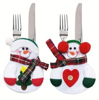 Christmas Snowman Silverware Tableware Holder Knife Fork Bag Pouch Decor for Home Dinner Table Festival Holiday Party Supplies