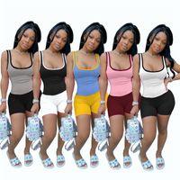 Plus Größe 2XL Sommerkleidung Frauen Sexy Yoga Weste Shorts Sportanzüge Tanktops Jogger 2 Stück Sets Pullover Capris Heißer Verkauf 4507