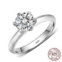 여성용 100 % 925 스털링 실버 반지 신부 6mm 실험실 다이아몬드 반지 로맨틱 약혼 고급 보석 여성 선물 R017