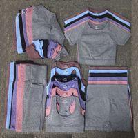 CD FG Moda Yoga Takım Gymshark Aynı Sty Sportwear Eşofmanlar Spor Sporları 5 adet Sutyen Tayt Kıyafetler Tasarımcı Bayan Pamuk