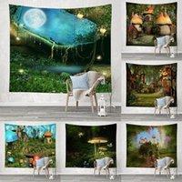 태피스트리 버섯 성 태피스 트리 신비한 숲 나무 판타지 동화 벽 침실 장식에 매달려 벽