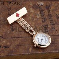 Hopearl gioielli infermiera fob clip sulla spilla a sospensione tasca tascabile orologio al quarzo movimento croce rosso craversia orologio oro rosa oro
