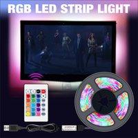 USB LED Strip Lights RGB DC 5V SMD2835 Flexible Ribbon Fita TV Light 50CM 1M 2M 3M 4M 5M Tape RGBW Remote Control Neon