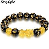 Unisex Obsidian Stone Beads Braceletes Chinês Fengshui Wristband Wristband Wom Sorte Pulseira Homens Mulheres Cadeia