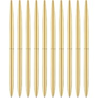 Ballpoint Pens 8 Pack Pens-Gold Slim Metallic Retractable Lightweight Gold Set Nice Gift For Wedding Business Office Students