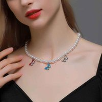 2021 Fashion Costume Jewelry New Charm Pearl Enamel Colorful Butterfly Necklace Femme Collar Choker Necklaces For Women Gift