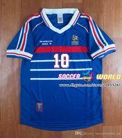 Ретро, 1998 Франция Франция Футбол Джетки Зидане Генри Абидал Vieira Ribery Maillot de Foot 98 Униформа Футбол Футбол Футтерс Размер рубашки S-XXL
