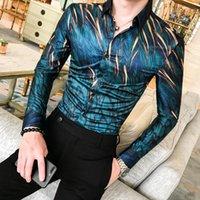 Men's Dress Shirts Quality High Floral Shirt Autumn Long Sleeve Tuxedo Street Clothing Slim Casual Social Club M-3XL