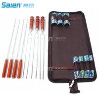 Stokken voor kampvuur en vuurplaats, verchroomd staal zware vorken, hotdog sticks, 7 stks met draagbare tas