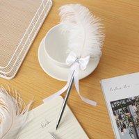 Caliente Blanco Pluma Pluma Ballido de Ball Pens Signature Signature Herramientas de escritura Novedad Papelería Regalo Decoración de boda Escuela Suministros de oficina