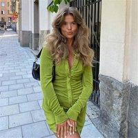 Casual Dresses Summer Green Shirt Dress Woman 2021 Ruched Long Sleeve Mini Bodycon Tight Office Lady Skinny Slim Velvet Streetwear