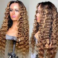 Lace Wigs Glueless Peruvian Highlight Surfing Wave Front Human Hair With Baby Full For Black Women Bleached Knots