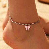 Tatlı Sevimli Kelebek Halhal Rhinestone Kristal Bilezik BoHo Beach Akrilik Halhal Kadınlar için Sandalet Ayak Bilezikler Kadın Jewelry519 T2