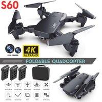 S60 무인 항공기 4K 직업 HD 와이드 앵글 카메라 1080P 와이파이 FPV 무인 항공기 듀얼 카메라 높이 계속 Drones 카메라 헬리콥터 장난감 유지