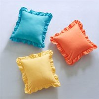 Cushion Decorative Pillow 45x45cm Solid Color Square Ruffle Pillowcases Household Comfortable Soft Sofa Cushion Cover Home Bedding Supplies