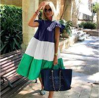 순수한 컬러 여름 드레스 Boho O 넥 여성 우아한 드레스 프릴 Vestidos 2021