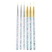 3pcs acrylique jet d'art brosse pinceau brosse set 3D Conseils Manucure Line ultra-mince dessin stylo gel brosses de gel de ongles