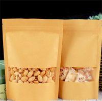14 Dimensioni Food Moisture Barriera Borse Borse Imballaggio Sigillatura Sacchetto marrone Carta Kraft DoyPack Sacchetto con finestra trasparente 192 S2