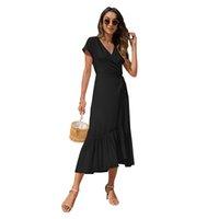Robe Femme Couleur Solide Manches courtes Irrégulière Slim Slim Robe de plage de la plage décontractée