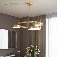 Pendant Lamps Modern Round LED Chandelier Restaurant Bar Hanging Light Fixtures Gold Black Bedroom Lamp Luminaire Suspension Home Deco