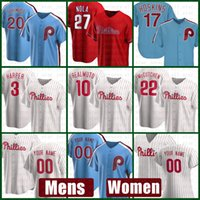 فيلادلفيا رجل فيليز المرأة البيسبول جيرسي 10 JT Realmuto Bryce مخصص 3 هاربر 20 مايك شميدت 10 دارين Daulton 25 Jim Thome
