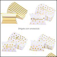 Wrap Event Festive Supplies Home & Garden10Pcs Gold Dots Stripes Pillow Shape Gift Boxes Wedding Favprs Candy Packaging Bags Baby Shower Bir