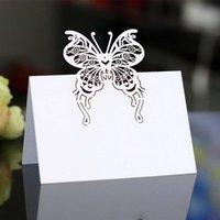 Tarjetas de felicitación 100pc Tarjeta de invitación de boda Digital Rosa mariposa Asiento Hollow Iniciar sesión Gracias por Business 5Z