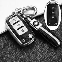 Ключ для автомобиля TPU для VW Volkswagen Polo Jetta Golf MK6 TDI GTI R32 Scoda Кожаный узор Смарт дистанционного управления защищает чехол