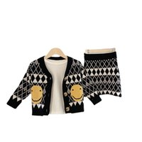 Wholesale Korean Clothing Sets Children's wool suits Girls Cute Plaid Sweaters Long sleeve Geometric Cardigan Lolita Style Chrismas Gifts Two-piece Smile Skirt
