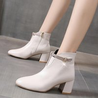 Boots White Black Thick High Heel Ankle Women 2021 Pointed Toe Keep Warm Elegant Short Booties Ladies Buckle Decoration