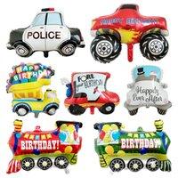 7 Styles Cartoon Transportation Car Balloon Party Supplies HAPPY BIRTHDAY Aluminum Film Vehicles Balloons Decoration