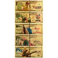 2020 Trump 2024 Gold Foil Color Printing Plastic Banknote Party Favor U.S. Presidential Campaign Collection Dollar Commemorative Voucher