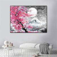 Dağı Fuji Kiraz Çiçeği Peyzaj Japonya Tuval Boyama Duvar Sanatı Posteri Yağı Baskılar HD Resimler Oturma Odası Ev Dekor Için