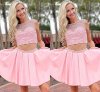 2022 Cute Pink Homecoming Dresses 2 Pieces Hard-working Beaded Boat Neckline Sheer Cap Sleeves A-line Gradaution Prom Party Dress Girls
